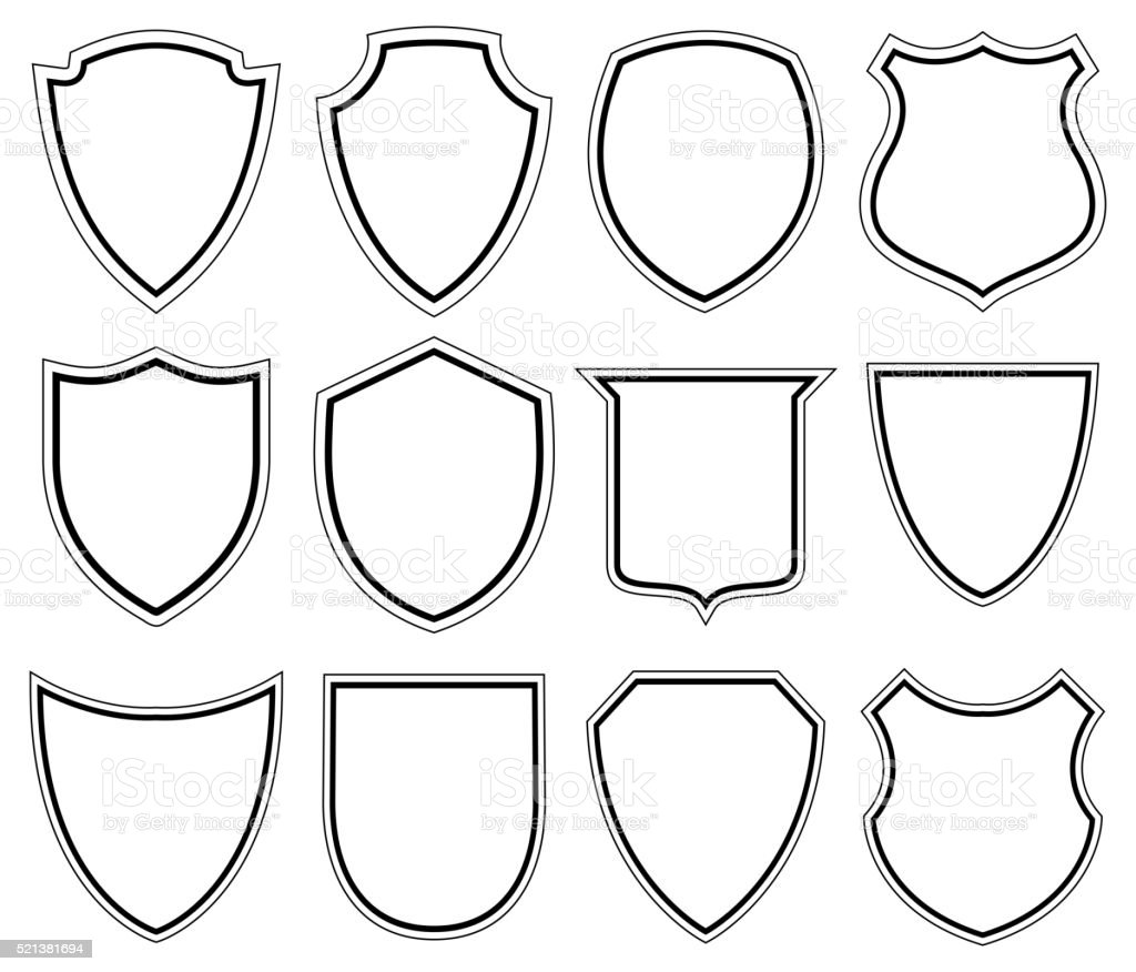 White Shield icons - Illustration vector art illustration