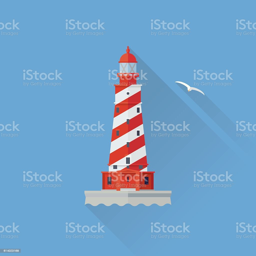 White Shoal Lighthouse Flat design long shadow icon vector art illustration