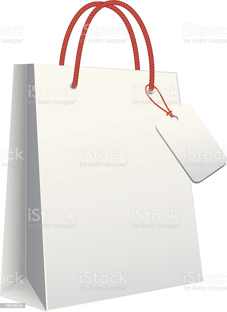 white shopping bag vector art illustration