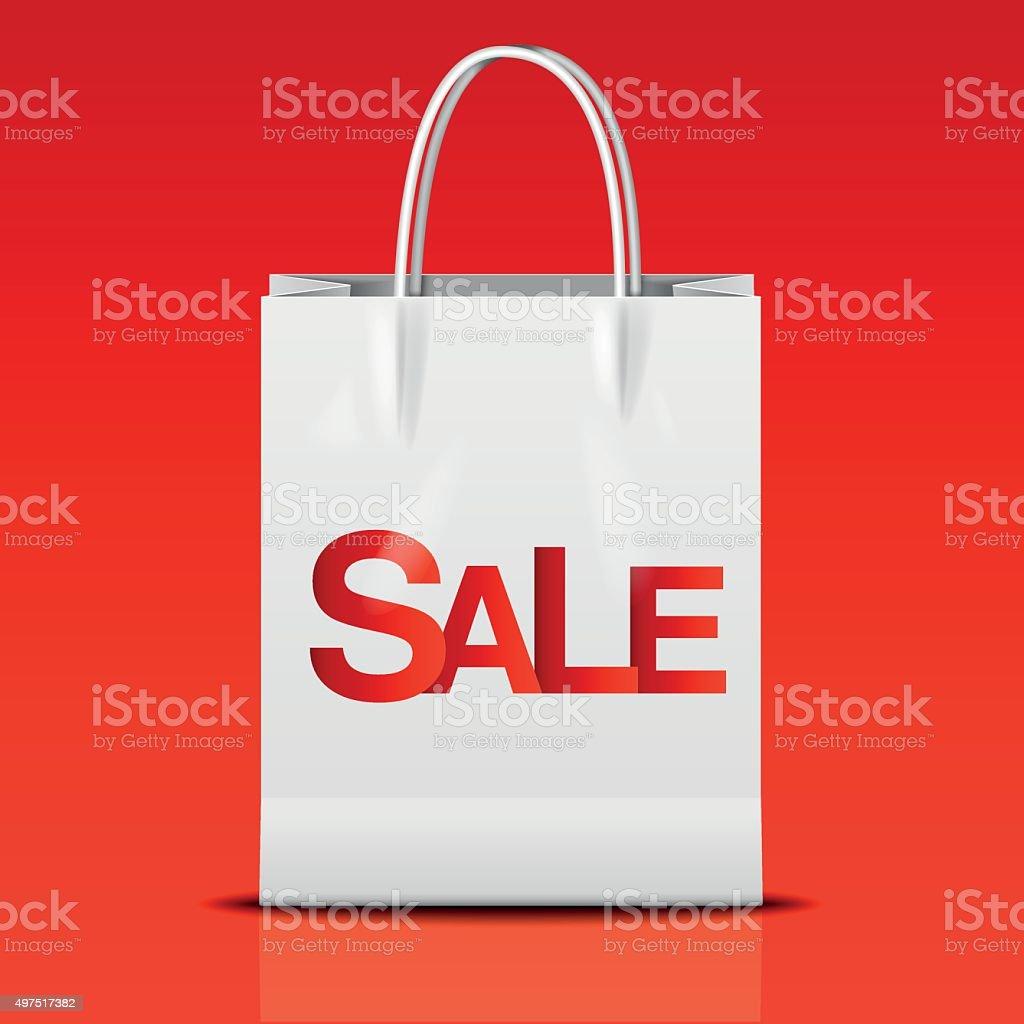 white shopping bag vector art illustration