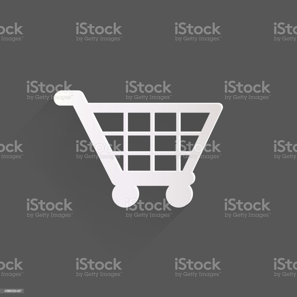 White shopping basket icon on a gray background vector art illustration