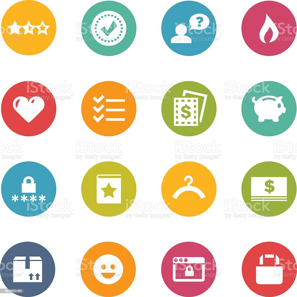 White shopping-themed icons on colored circles vector art illustration