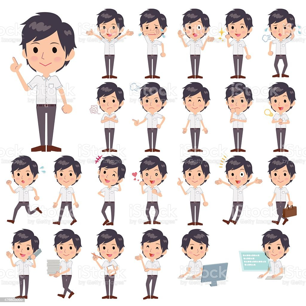 White short sleeved shirt business men vector art illustration