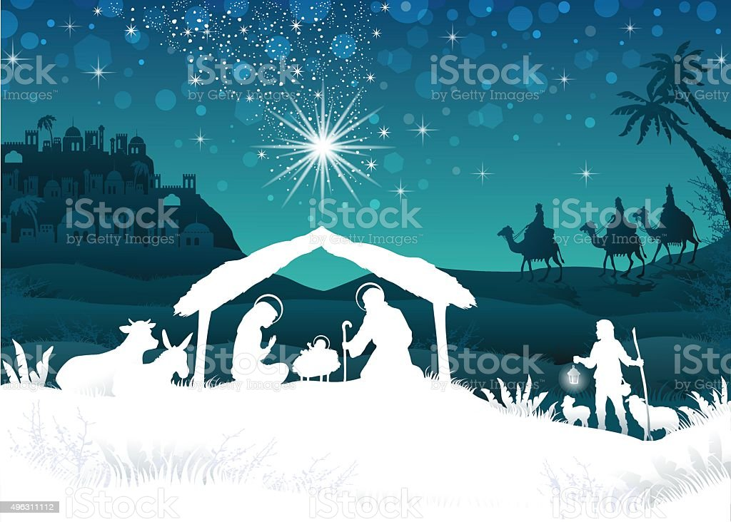 White Silhouette Nativity scene with Magi vector art illustration