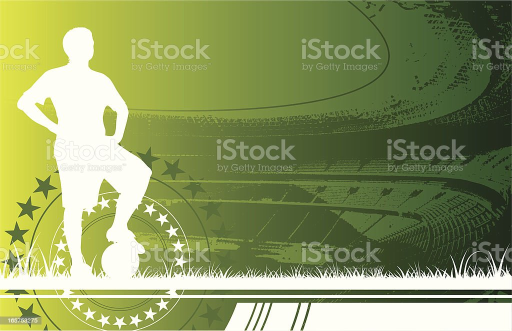 White silhouette of a soccer player royalty-free stock vector art