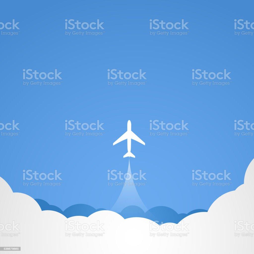 White silhouette of jet airplane vector art illustration