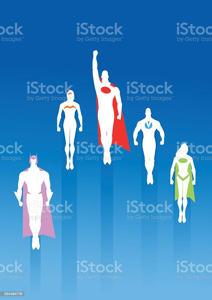 White Silhouette Team of Superheroes vector art illustration