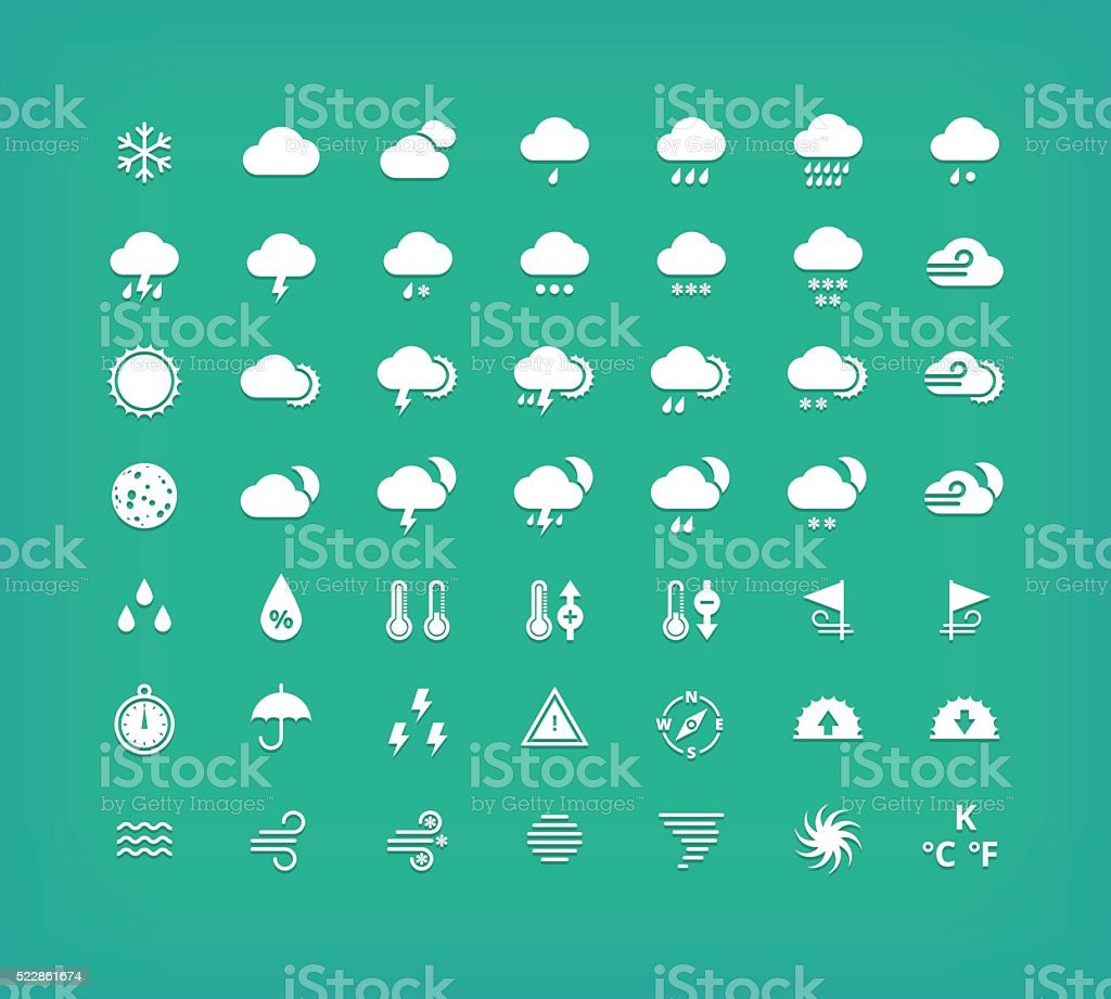 White silhouette weather icons set. Weather forecast design elements. vector art illustration