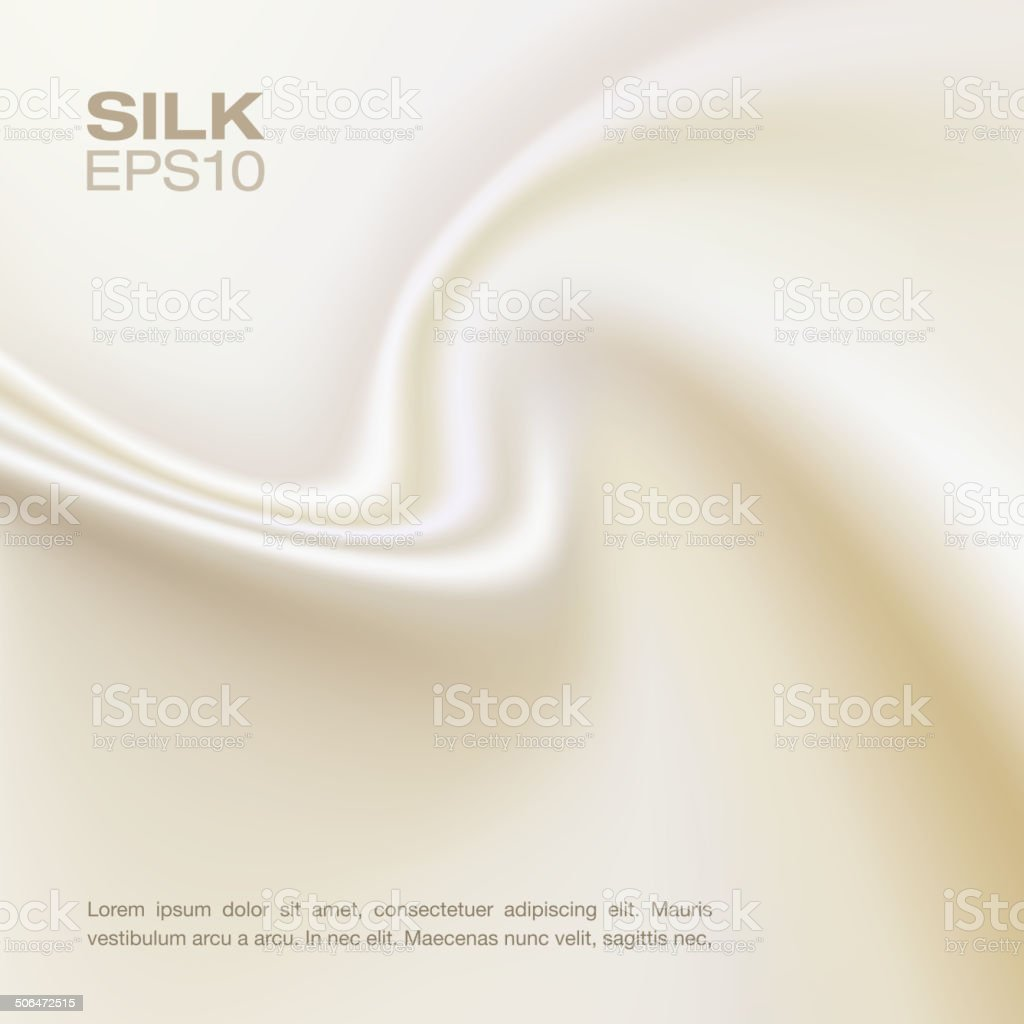 White silk background, horizontal composition. vector art illustration