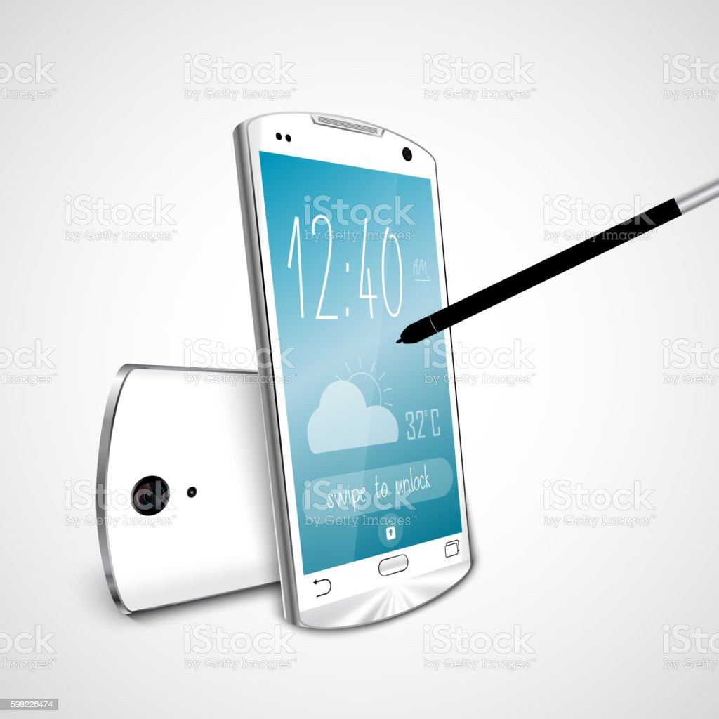 White smartphone with pen on screen mobile phone vector art illustration