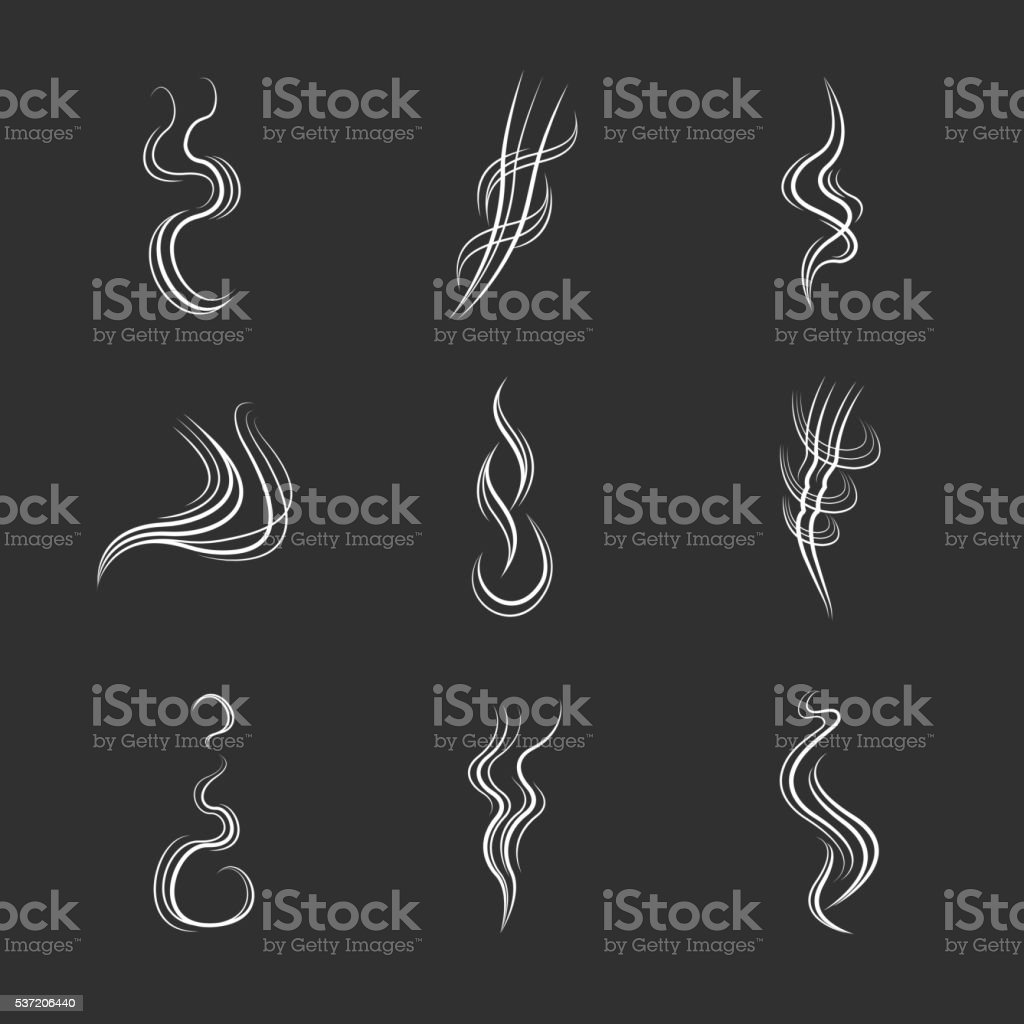 White smoke lines on black background. Vector set vector art illustration