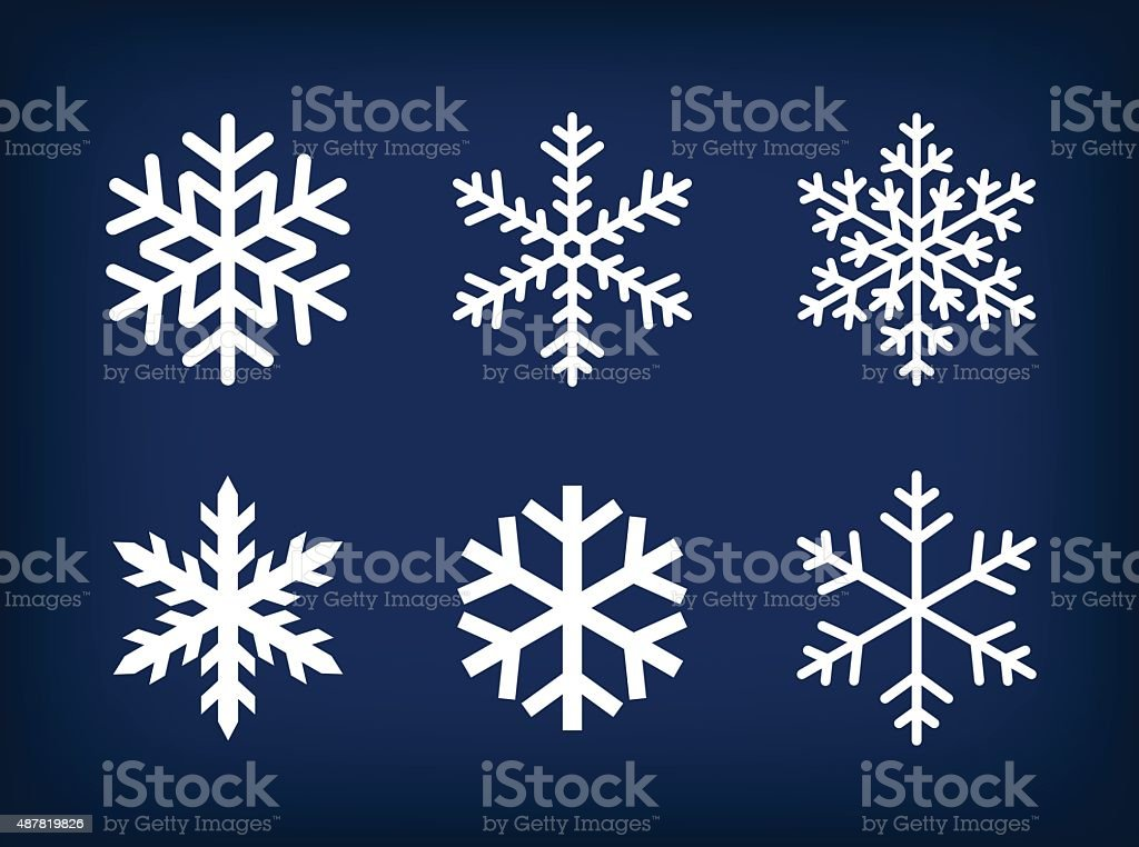 white snowflakes on dark blue background vector art illustration