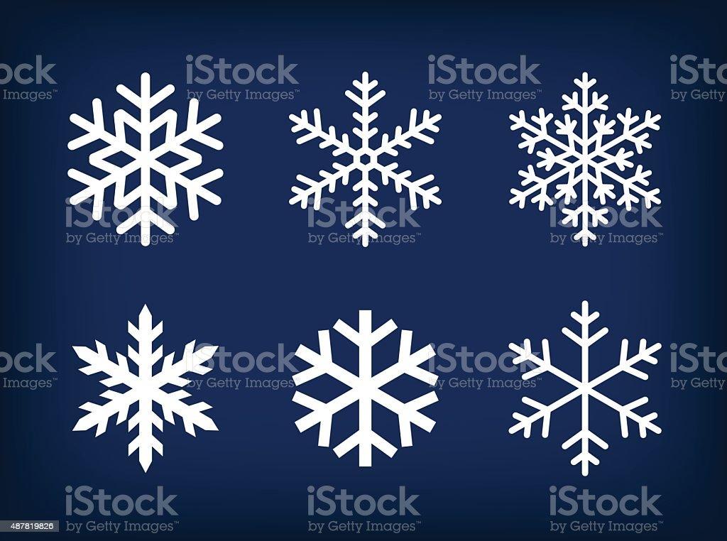 white snowflakes on dark blue background vector art illustration