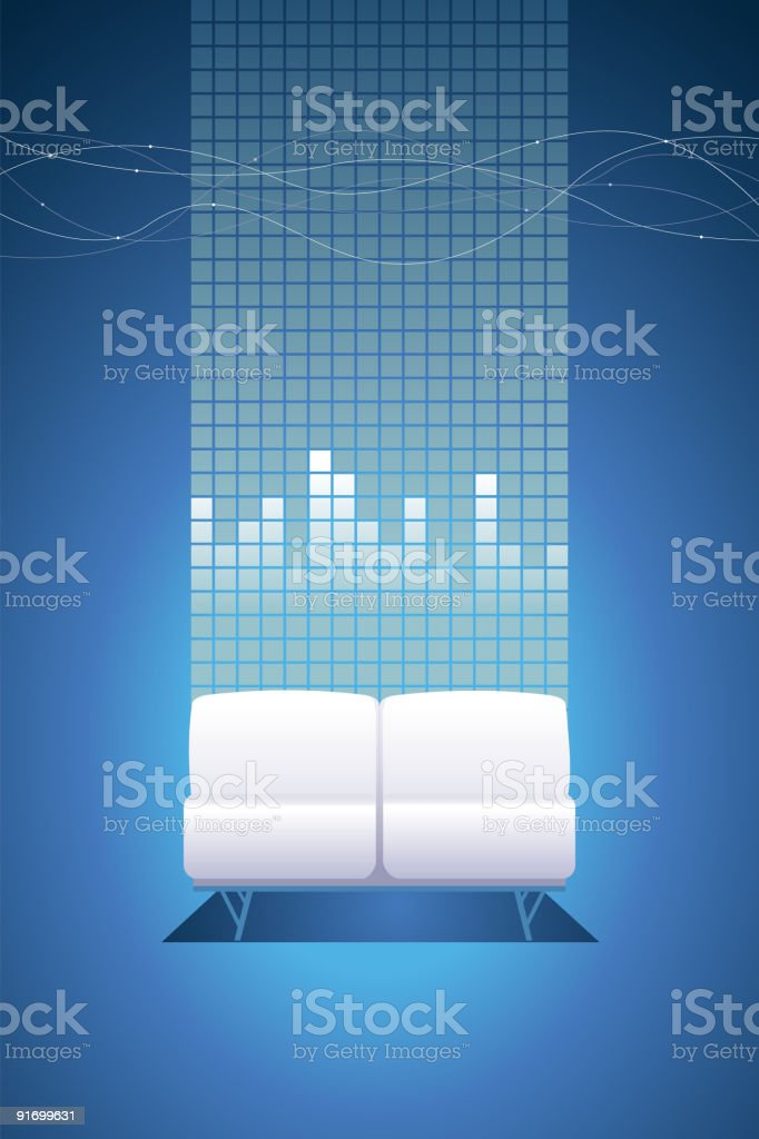 white sofa and equaliser royalty-free stock vector art