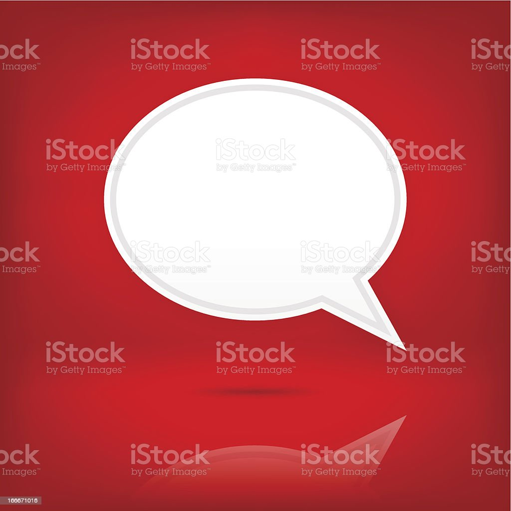 White speech bubble empty icon chat room sign red background vector art illustration
