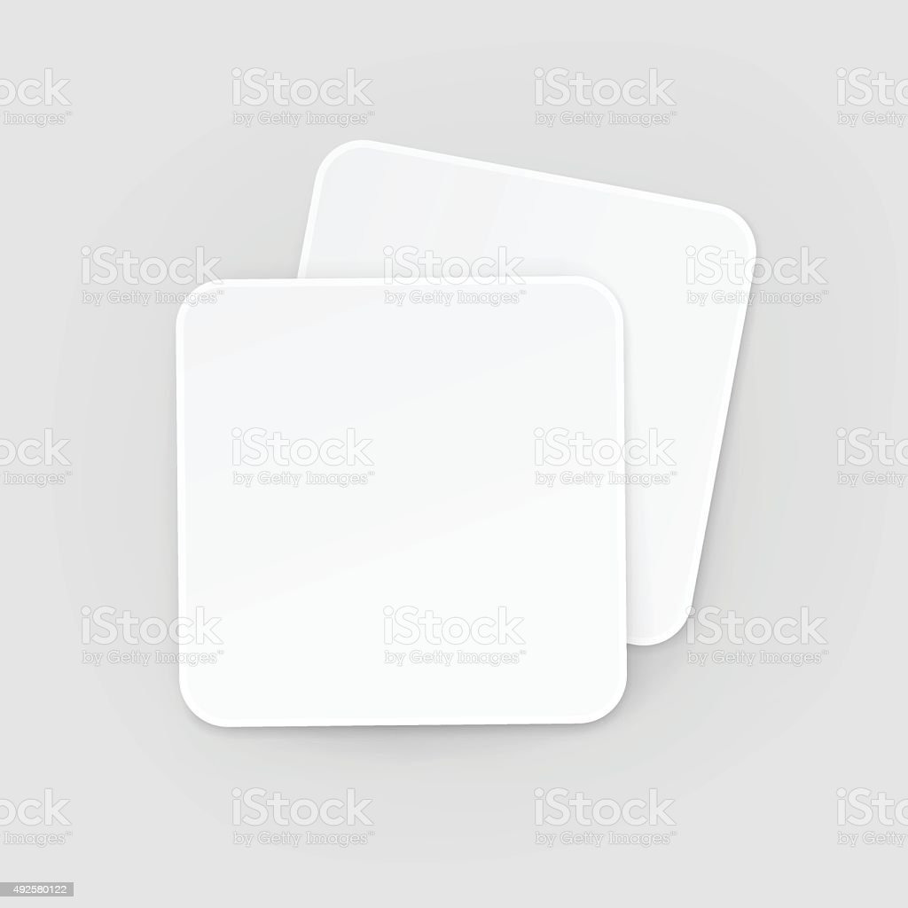 White Square Blank Beer Coasters Vector Isolated Illustration vector art illustration