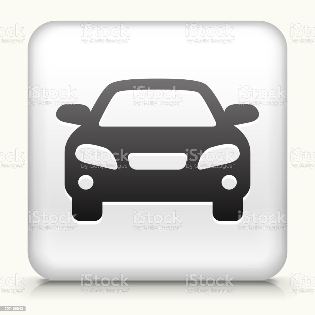 White Square Button with Car Icon vector art illustration