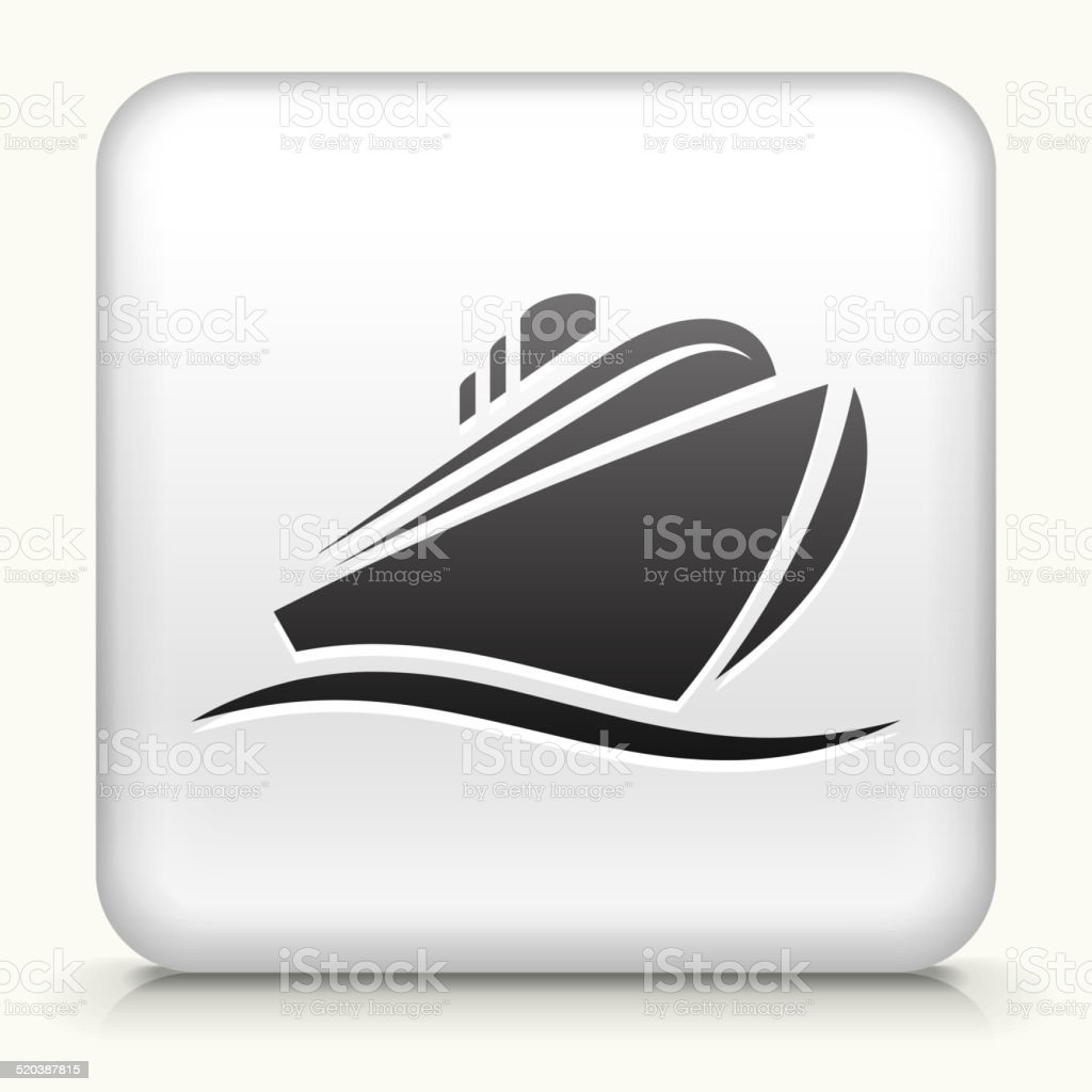 White Square Button with Cruiseliner vector art illustration