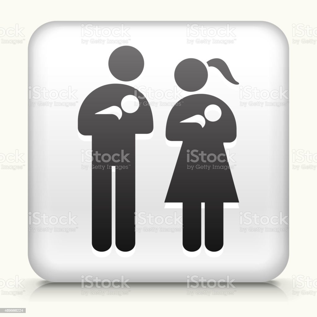 White Square Button with Family & Babies Icon vector art illustration