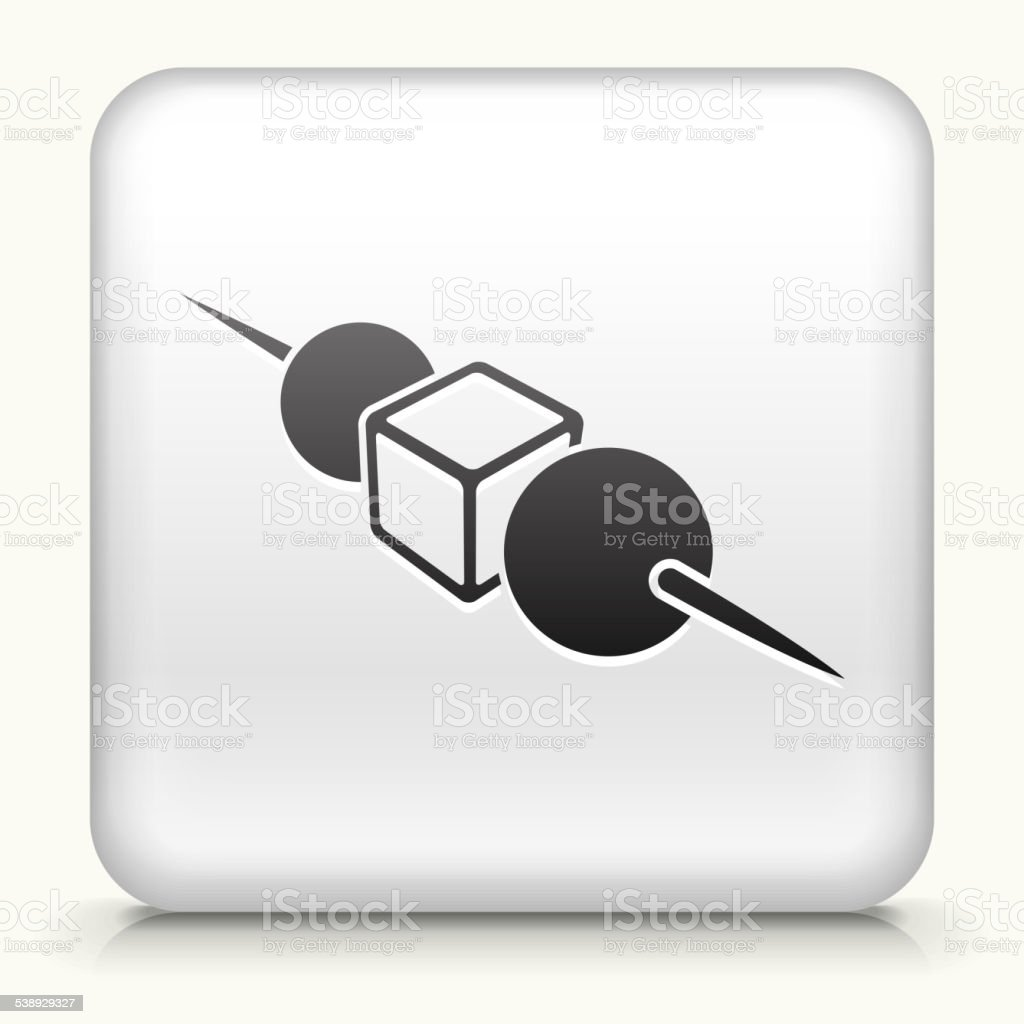 White Square Button with Horderves Icon vector art illustration