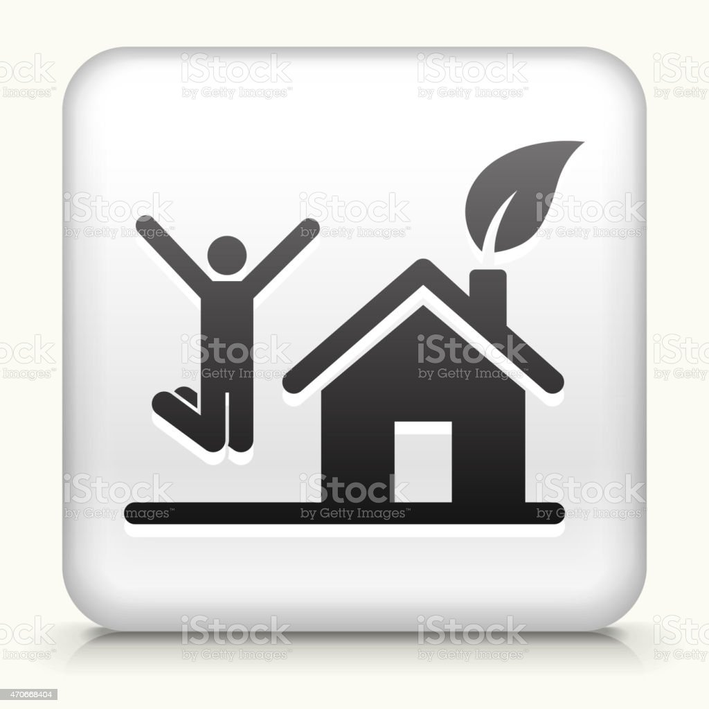 White Square Button with House and Happy Person Jumping vector art illustration