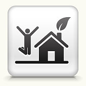 White Square Button with House and Happy Person Jumping
