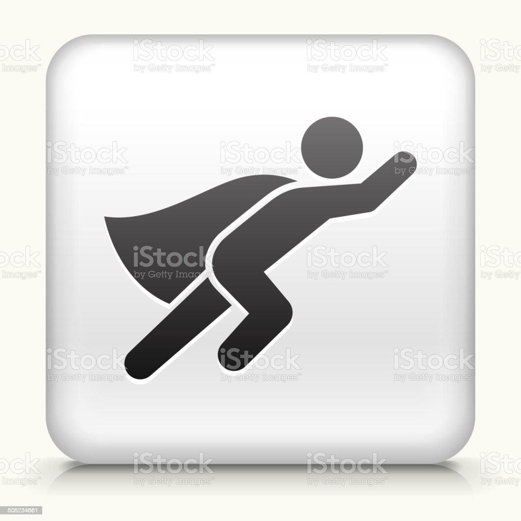 White Square Button with Superhero Icon vector art illustration