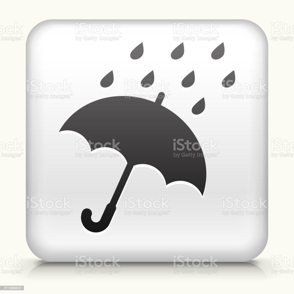 White Square Button with Umbrella & Rain vector art illustration