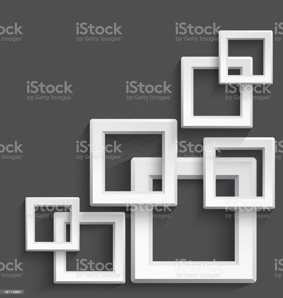 White square frames vector art illustration