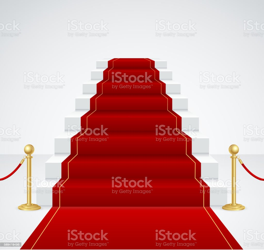 White Staircase and Red Carpet. Vector vector art illustration