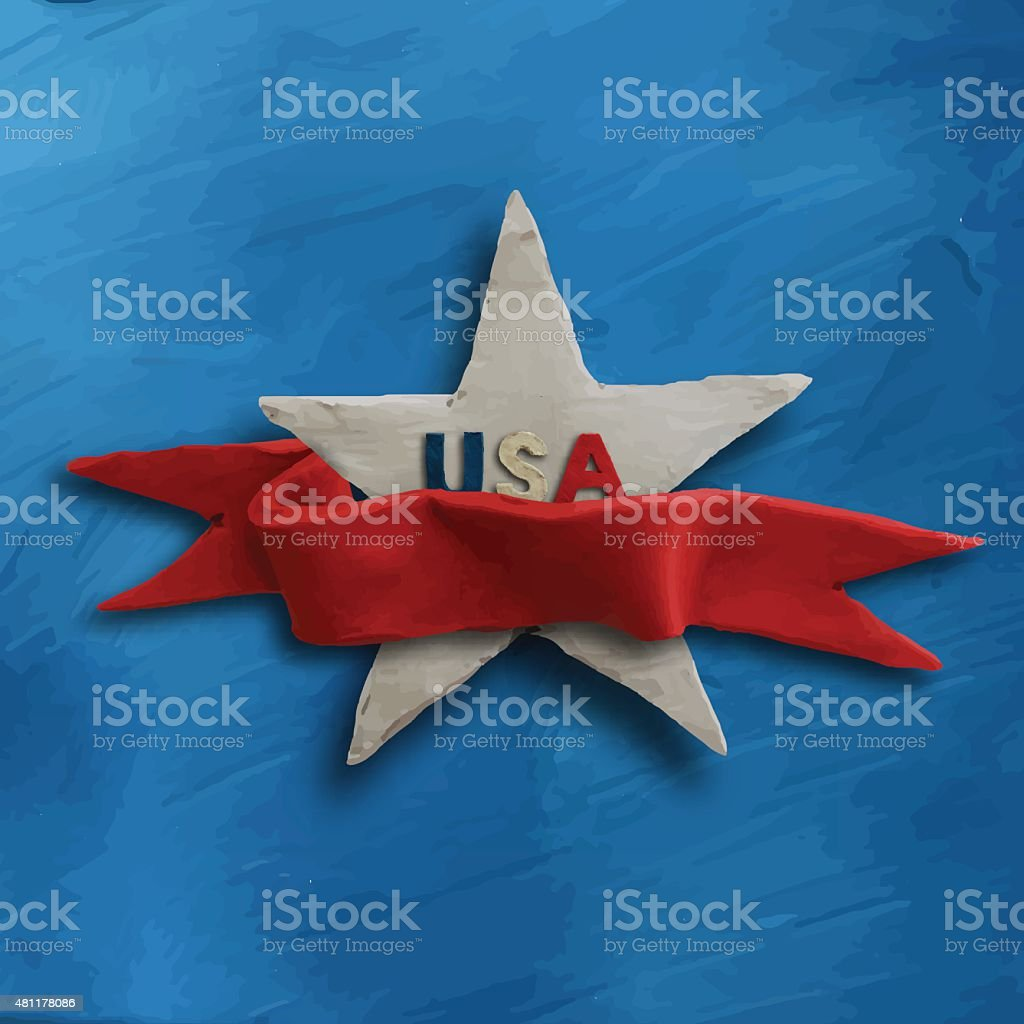 White star on blue background with red ribbon vector art illustration
