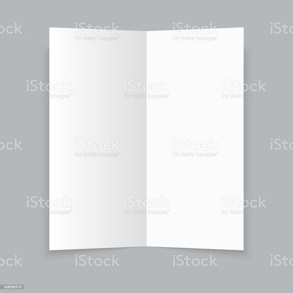 White stationery: blank trifold paper brochure on gray backgroun vector art illustration