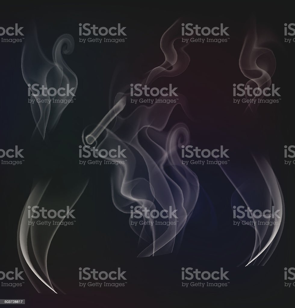 White steam collection on dark background. Vector illustration vector art illustration