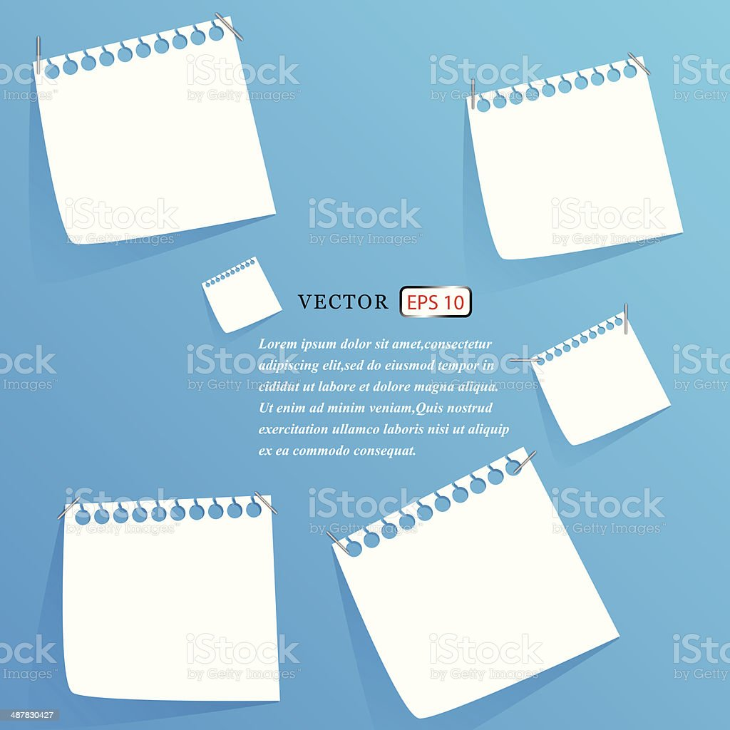 white stick note isolated on blue background, vector illustration royalty-free stock vector art