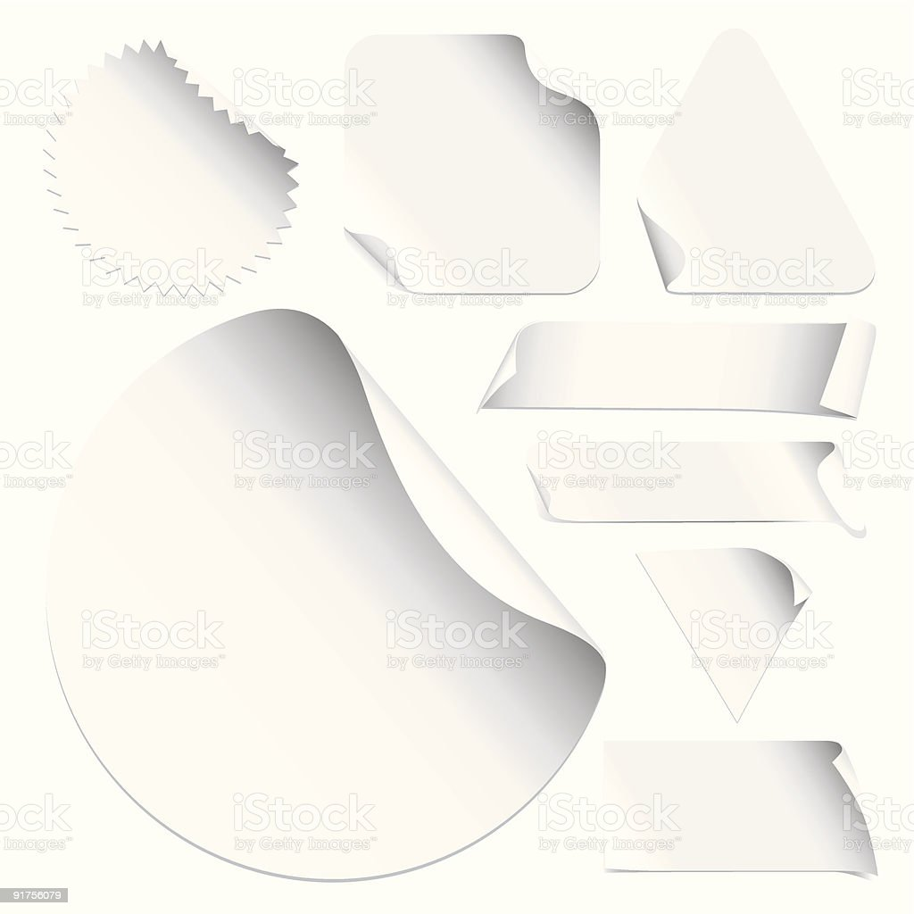 White stickers in different frame forms royalty-free stock vector art