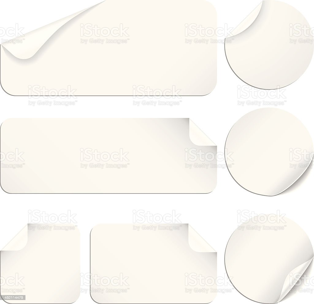 White Stickers vector art illustration