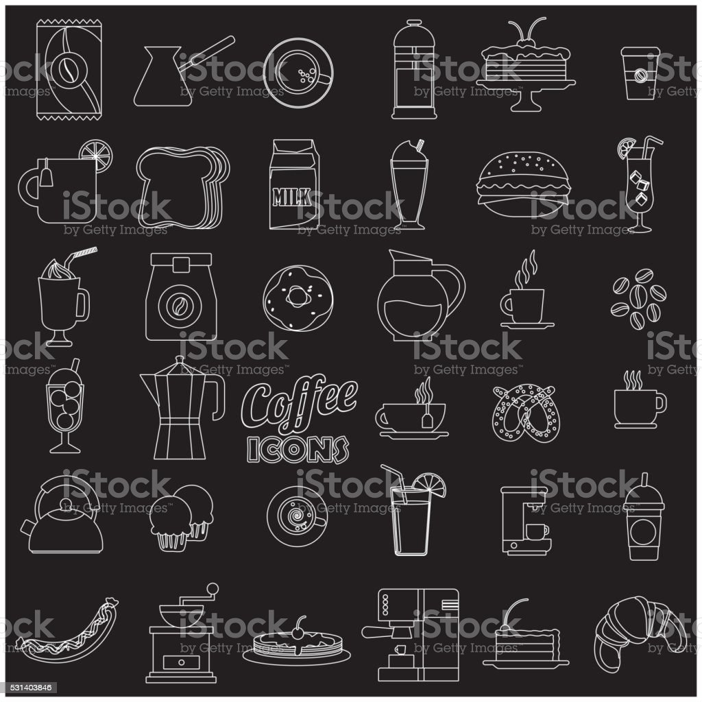 white stripe coffee shop icons vector art illustration