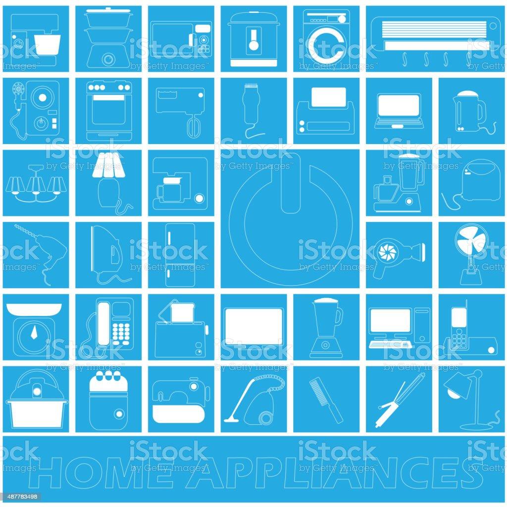 White stripe home appliances in blue square vector art illustration