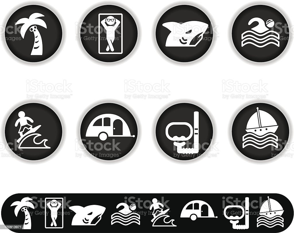 White Summer Vacation icons royalty-free stock vector art