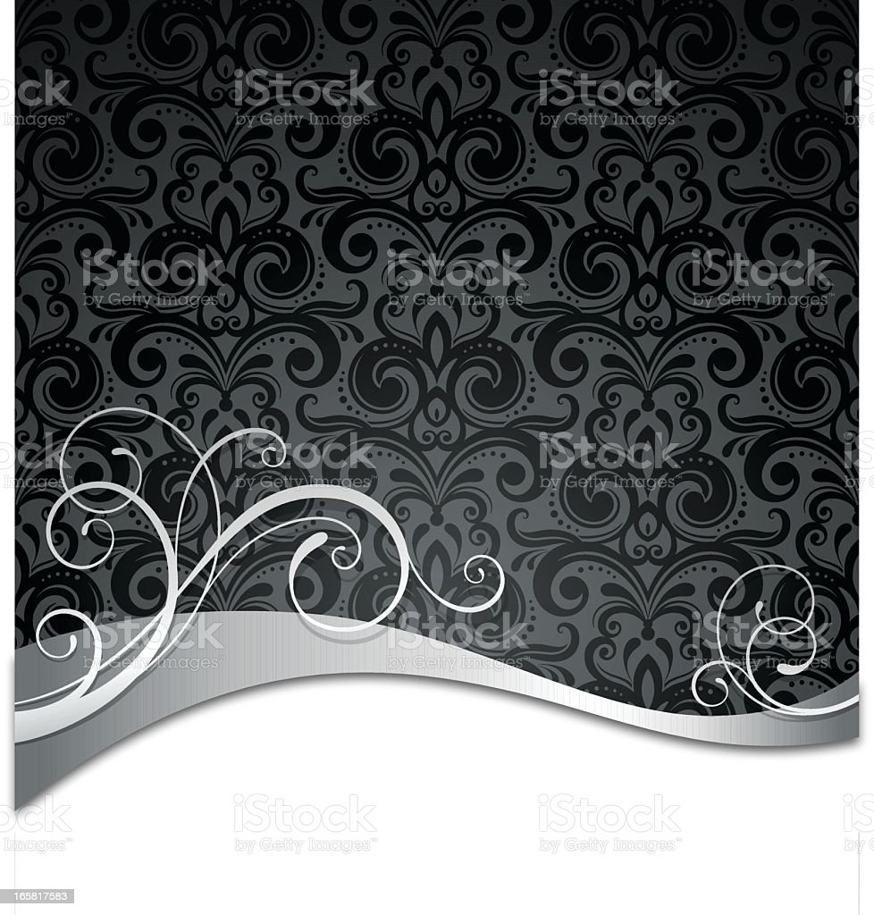 White swirl pattern on gray and black Victorian pattern vector art illustration