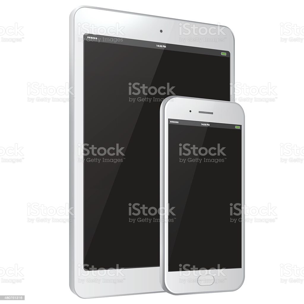 White Tablet PC and Mobile Phone vector art illustration