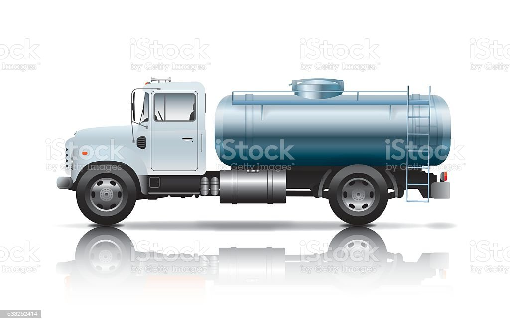 white tanker truck vector art illustration