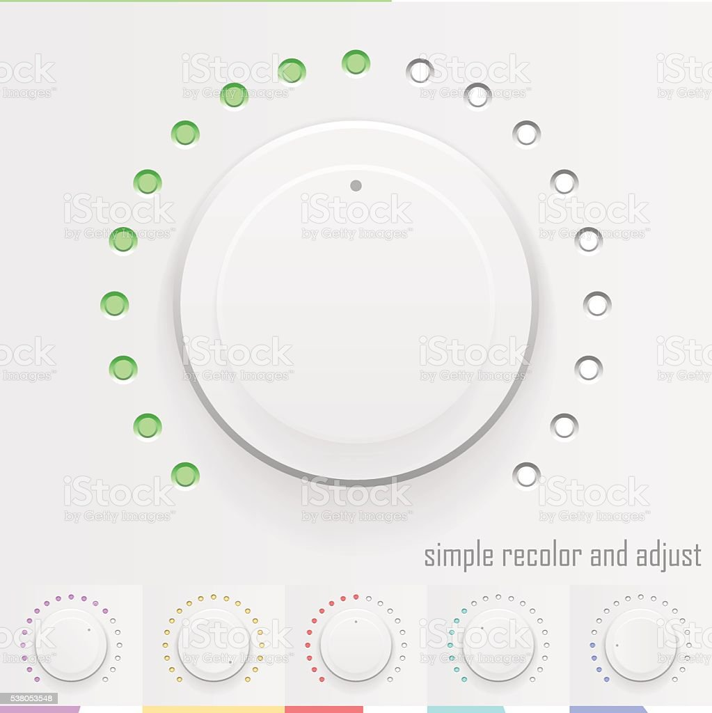 White technology music button, volume knob with realistic design vector art illustration