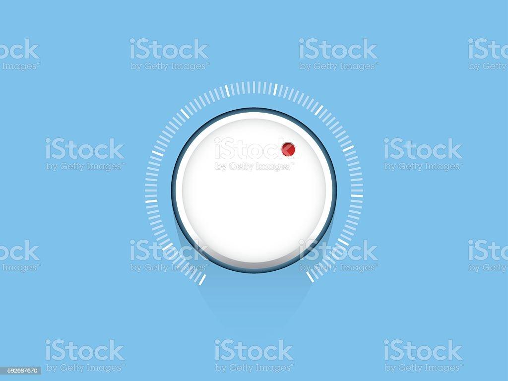 White technology music volume button, volume knob, flat design vector art illustration