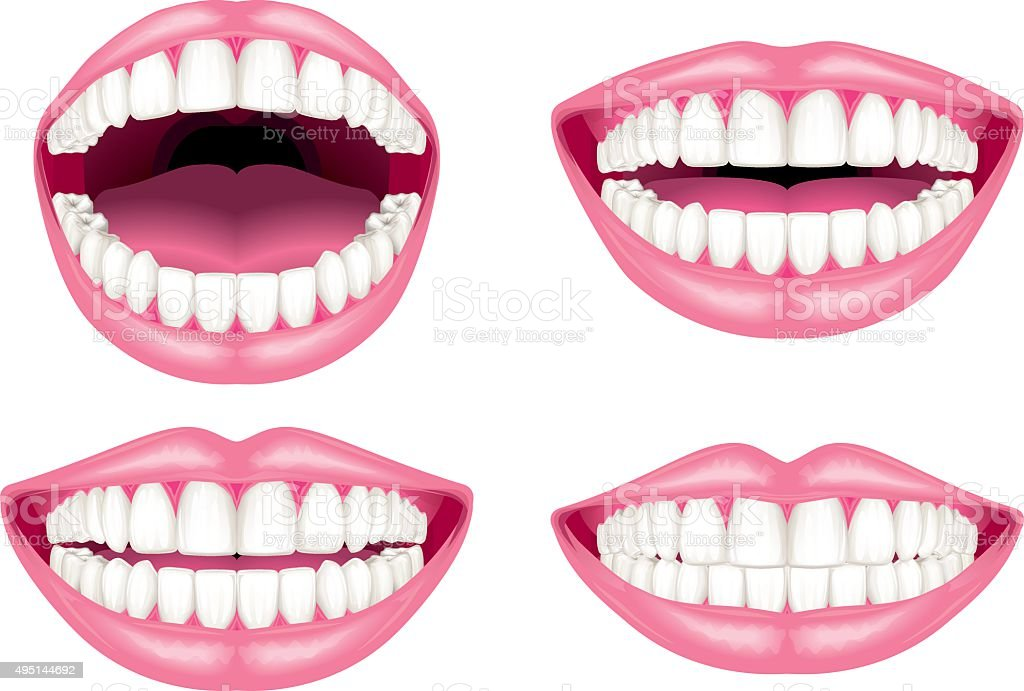 White teeth and lips vector art illustration