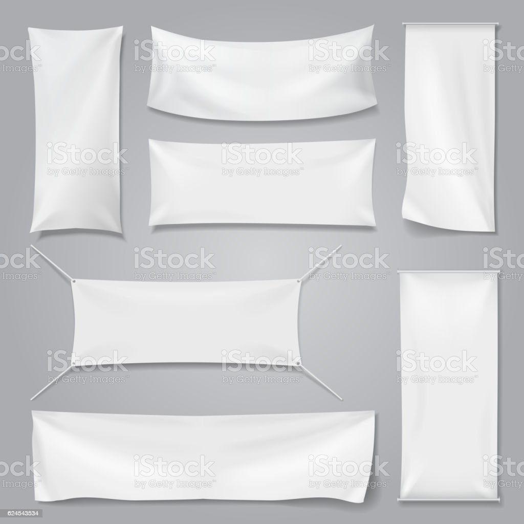 White textile advertising banners with folds template set. vector art illustration