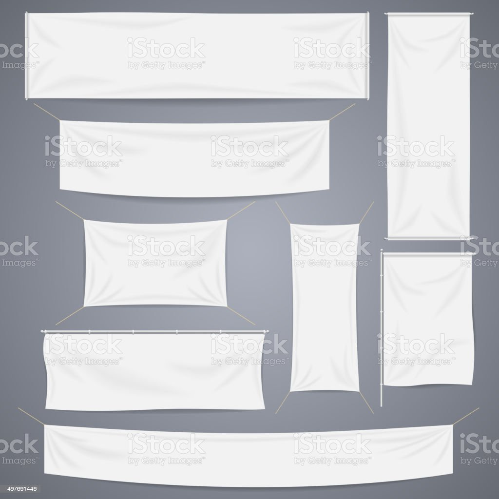 White textile banners with folds vector template set. Separate shadows vector art illustration