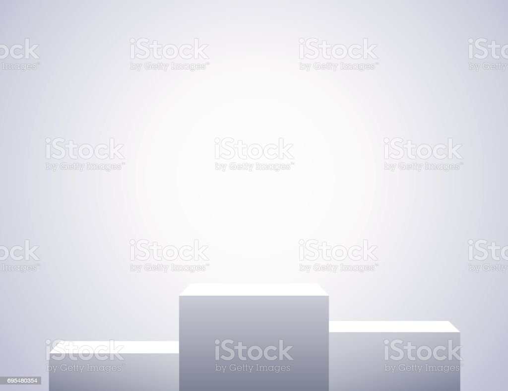 White three rectangles, empty pedestals. Simple template for an advertisement or web design. vector art illustration