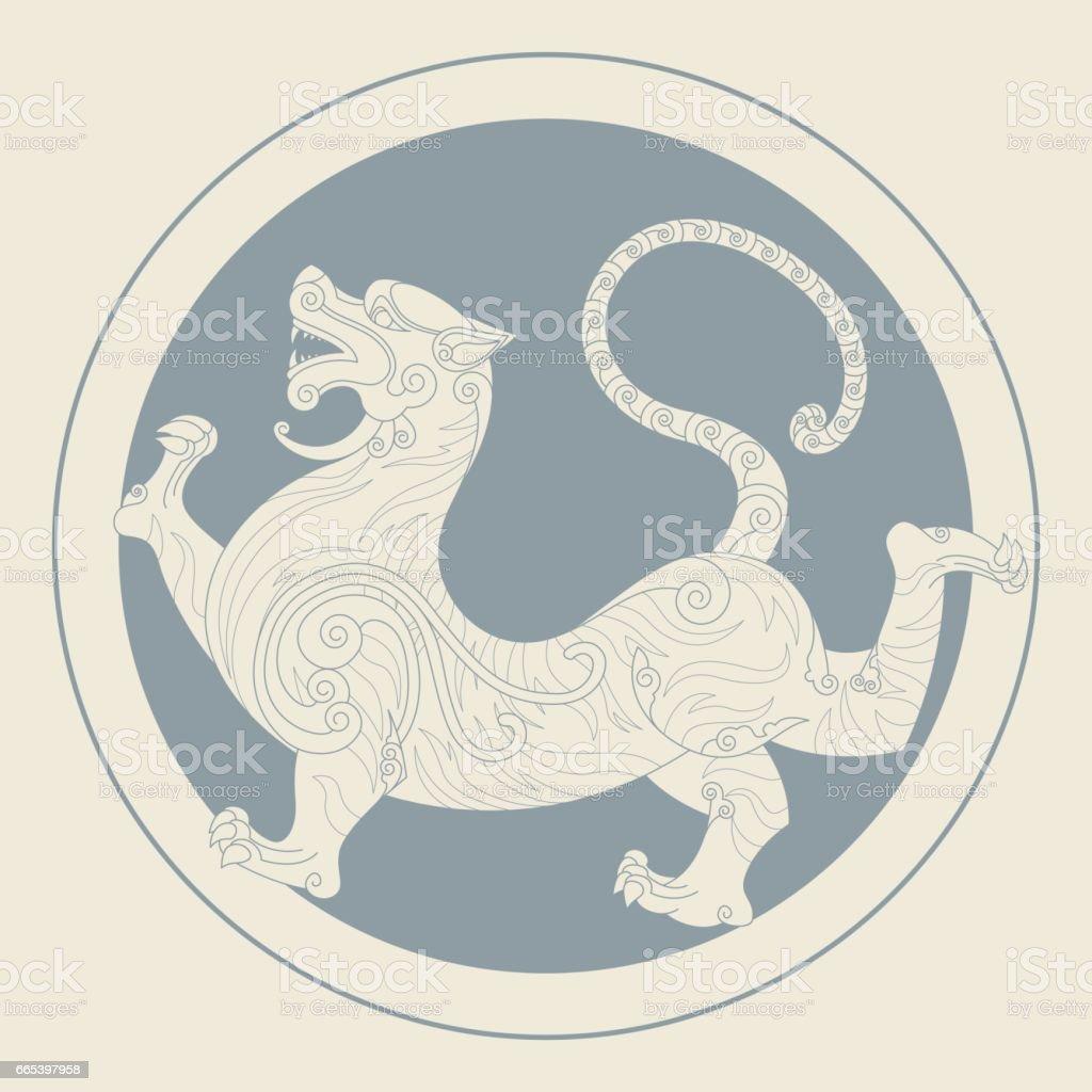 White Tiger of the West (Medallion) vector art illustration