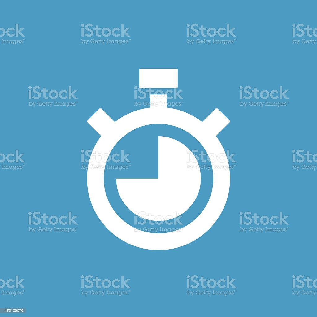 A white timer icon on a blue background vector art illustration